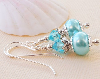 Turquoise glass pearl earrings with Swarovski, glass pearl rondelle earrings, Swarovski light turquoise,fresh turquoise and silver earrings