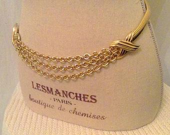 Vintage golden tone three layers chain adjustable women's belt,1980s metal belt,disco belt, womens retro golden metal waist chain belt