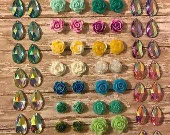 De-stash mixed lot roses flowers tear drop resin rhinestone flat back Native American beadwork