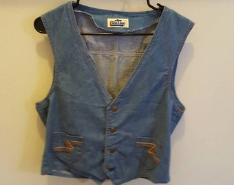 Men's 1970s Denim Vest Retro Vest Jean Vest