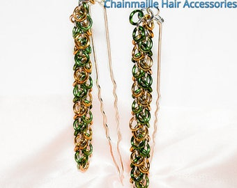 Shaggy Bubbles Hair Pins | Pair / Set of two (2) | Artisan Chainmaille Hair Accessories