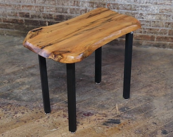 Rare Dogwood End or Side Table - Live Edge Modern Natural Wood Slab Table with Metal Legs