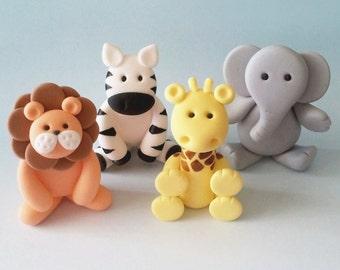 4 Fondant Jungle Animal Cake Topper - Lion, Elephant, Zebra and Giraffe