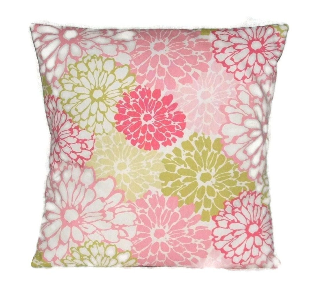 Pillow Cover, Pinks And Soft Greens, Decorative Pillow Cover , Floral Design, 18 x 18 Inches
