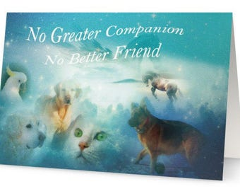 Loss of Pet Sympathy Card, dog, cat, horse, bird, thinking of you greeting card, No greater companion, rainbow bridge, animals picture
