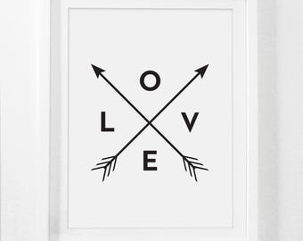 Love Prints, Love Arrows, Love Arrow, Black and White Print with Arrows, 8x10 Art Prints, 5x7 Art, 4x6 Prints, Love Wall Art, Printable