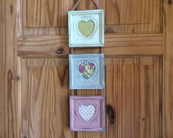 Wall hanging photo frame set with jute rope hanger, colourful frames, handpainted frames, square frames