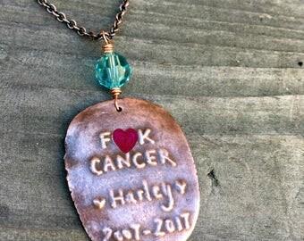 Custom pet memorial necklace handmade copper and crystal