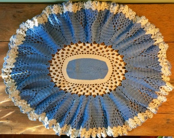 "22x18"" Hand Crocheted Blue & White Doily"