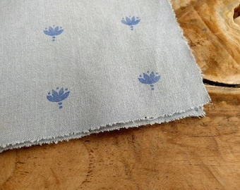 Blue Block Print Fabric, Boho Fabric | Indian lotus flower hand block printed cotton, rustic print on soft grey cotton, blue and grey fabric