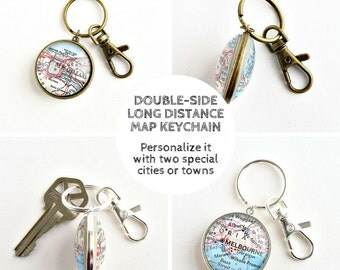 Long Distance Keychain, Father's Day Gift, Father from Daughter, Father from Son, Long Distance Dad, Daughter to Father Gif, Map Keychain