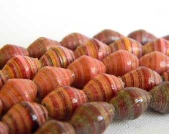 Paper Bead Jewelry Supplies - Paper Beads - Hand painted - Lot of 50 - #1449