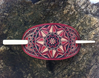 Geometrical red hand carved leather hair barrette - hair accessories - Stick Barrette - Hair Slide