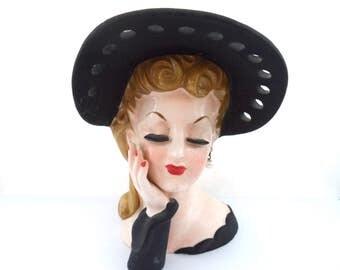 Vintage Napco 1950s Lady Head Vase Rita Hayworth Head Vase Black Ribbon Hole Hat With Bow Pearl Earrings Vintage Hollywood Glamour