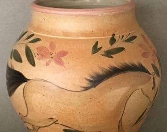 Wheel  thrown  stoneware  vase  with  hand painted horses