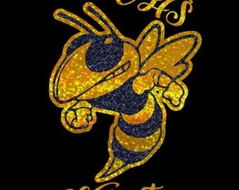 Custom Glitter School Spirit Hornet decal