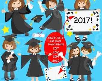 Graduation clipart, graduation girls clipart, Black gowns, vectors, commercial use, digital clipart, instant download, AMB-867