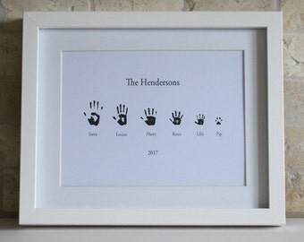 Personalised Picture, Personalised Print, Family Picture, Handprint Picture, Handprints, Family Gift, Special Gift, Gift Idea, unusual Gift