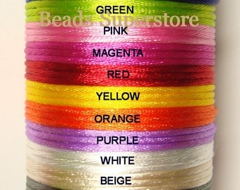 Satin Cord for Teething Silicone Necklace - 2 Yards (about 1.82 meters) - Please Choose Your Color