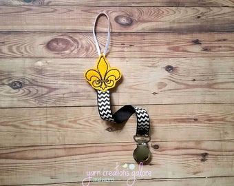 Feltie Saints Pacifier Holder--w/ Black Chevron Ribbon