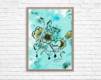 Floral Watercolor Mixed Media Original Wall Art