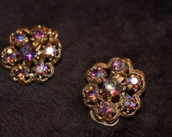 Gorgeous Vintage Aurora Borealis Rhinestone Clip on Earrings