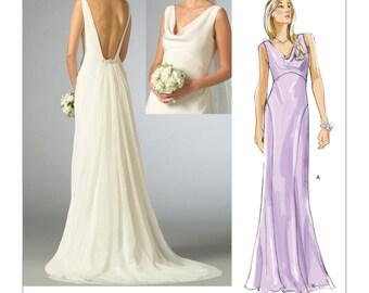 Formal dress pattern etsy for Cowl neck wedding dress pattern
