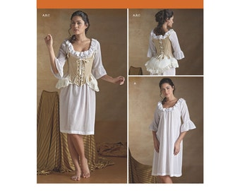 8162, Simplicity, 18th Century Women's Colonial, Highlander Undergarment pattern Cosplay, Reenactment Night Gown, Bum Pad, Chemise, Corset