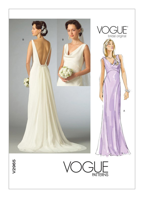 2965 vogue wedding dress pattern cowl neck dress plunging