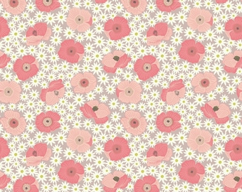 Lewis & Irene Grandma's Garden Patchwork Quilting Fabric A197.1 Pink Poppy