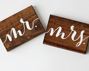 Rustic Wedding Mr and Mrs Signs // Photo Props // Sweetheart Table