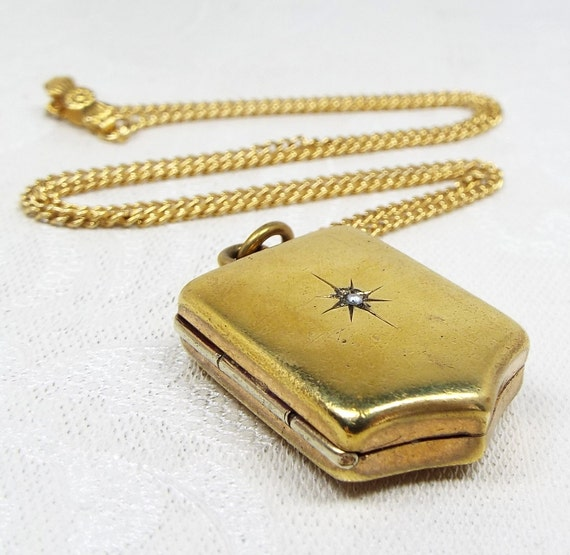 Victorian Gold Gilt Striking Pearl Star Shield Photo Locket Pendant Necklace