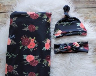 Navy Flower/Navy Flora/Navy Floral swaddle/Flower swaddle/Floral Swaddle Blanket/ Pink swaddle blanket/ Swaddle set/ Flower swaddle set