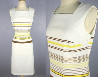 Vintage 60s SHIFT Dress 1960s MOD Dress Sheath Dress 60s Dress Retro Dress WIGGLE Dress Yellow Striped Dress Twiggy Go Go Sleeveless Dress