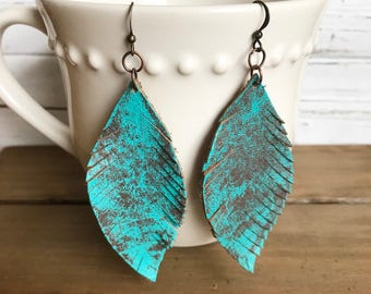 Rustic Upcycled Leather Feather Earrings, Verdigris, Hand Patina, Statement Jewelry, Boho, Bohemian, Gift For Her, Fringe Earrings