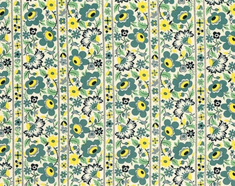 Eastham - Floral Stripe Juniper by Denyse Schmidt for Free Spirit Fabrics, 1/2 yard, PWDS.099 Juniper