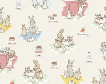 Bunnies and Cream - Main Cream by Lauren Nash for Penny Rose Fabrics, 1/2 yard, C6020-Cream