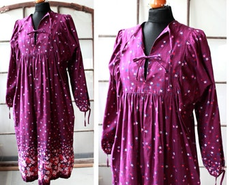 Vintage cotton hippie dress, boho dress, purple, free form, L, 70s, 1980s