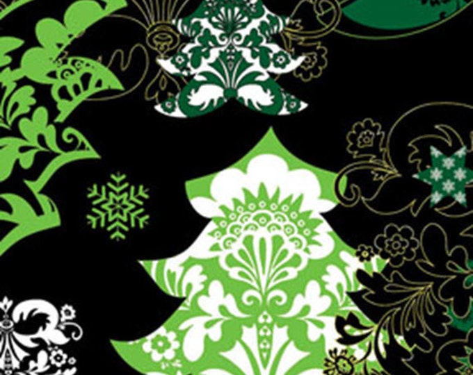 Half Yard Deck the Halls - Christmas Trees Black with Metallic Accents - Christmas Cotton Quilt Fabric - Benartex Fabrics -6452M-12 (W3487)