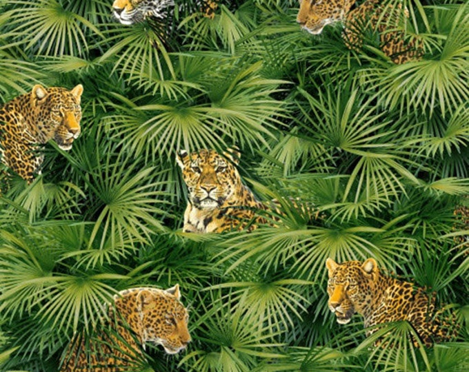 Half Yard Jungle Minis - Big Cat in Multi - Cotton Quilt Fabric - by Whistler Studios for Windham Fabrics - 40254-X (W3541)