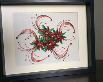 Paper quilled poinsettias