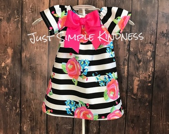 Girls Floral Dress, Girls Dresses, Girls Black and White Stripe Dress, Girls Easter Dress, Baby Easter Dress, Girls Summer Dress, Spring