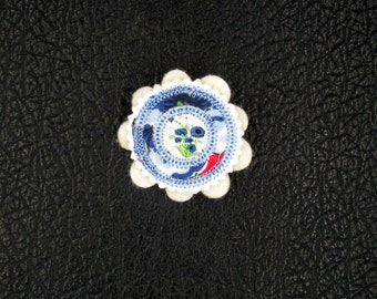 Fabric Brooch  Made From A Blue Vintage Handkerchief With Embroidered Royal Blue Flower