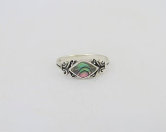 Vintage Sterling Silver Inlay Abalone Ring Size 6.75
