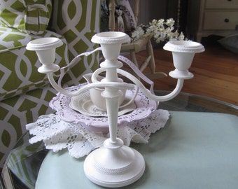Chalk Painted Candelabra - 3-candle Candelabra - Painted Silver Candelabra