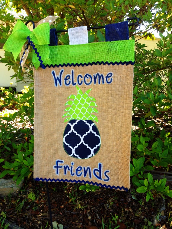 Pineapple Garden Flag, Welcome Flag, Summer Flag, Burlap Garden Flag ...
