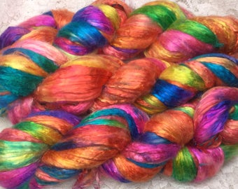 Hand dyed bombyx silk roving  2 oz toucan mulberry silk great adirondack spinning weaving felting werable art mixed media