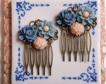 Flower wedding comb dusky blue and peach Flower girl Bridesmaid hair comb