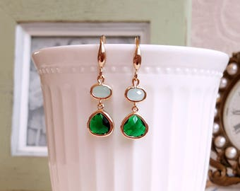 Emerald green and mint Crystal bezel drop earrings Antique gold earrings Elegant bridal earrings