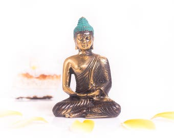 Buddha Figure - Yoga Meditation Buddha - Antique Brass Buddha - Buddha Decoration - Buddha Yoga Decor - Feng Shui Decoration - Buddha Shrine